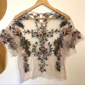 Mesh Embroidered Floral Top